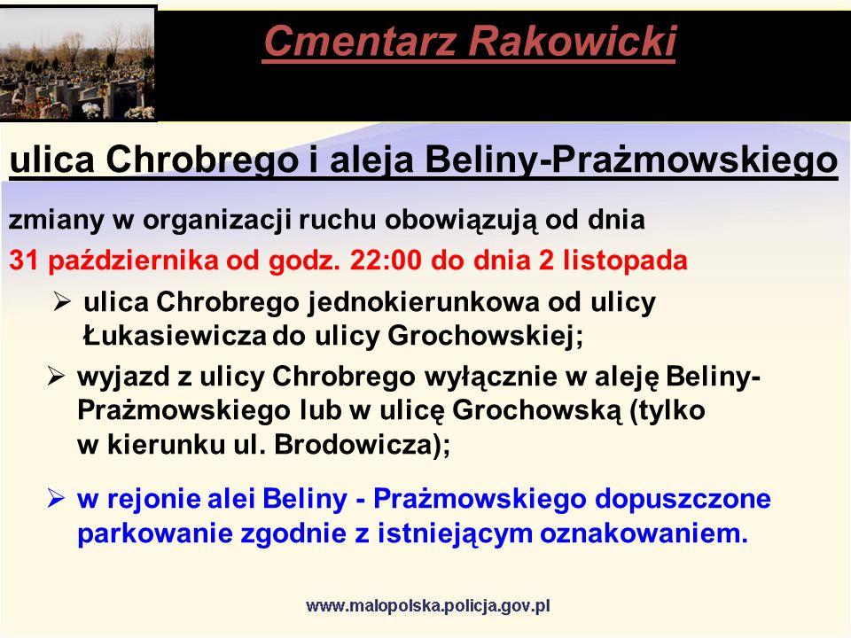 Cmentarz Rakowicki stąpią ulica Chrobrego i aleja Beliny-Prażmowskiego zmiany w organizacji ruchu obowiązują od dnia 31 października od godz.