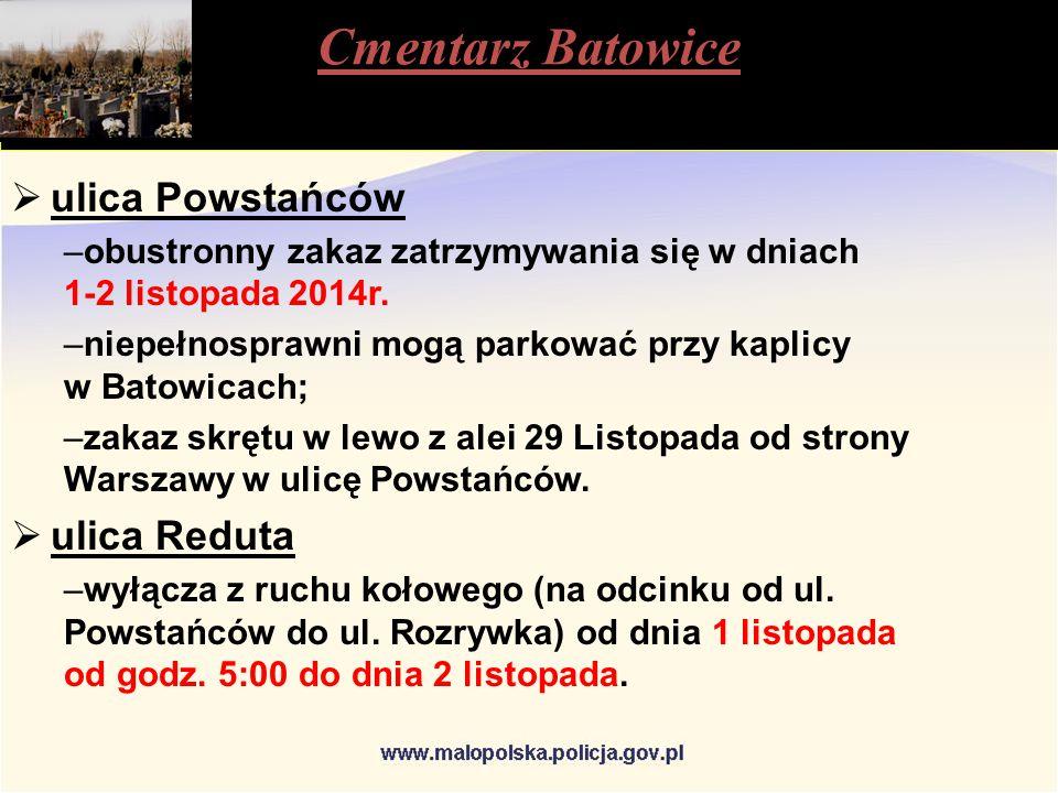 Cmentarz Batowice  ulica Powstańców –obustronny zakaz zatrzymywania się w dniach 1-2 listopada 2014r.