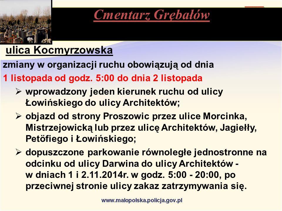 ulica Kocmyrzowska zmiany w organizacji ruchu obowiązują od dnia 1 listopada od godz.