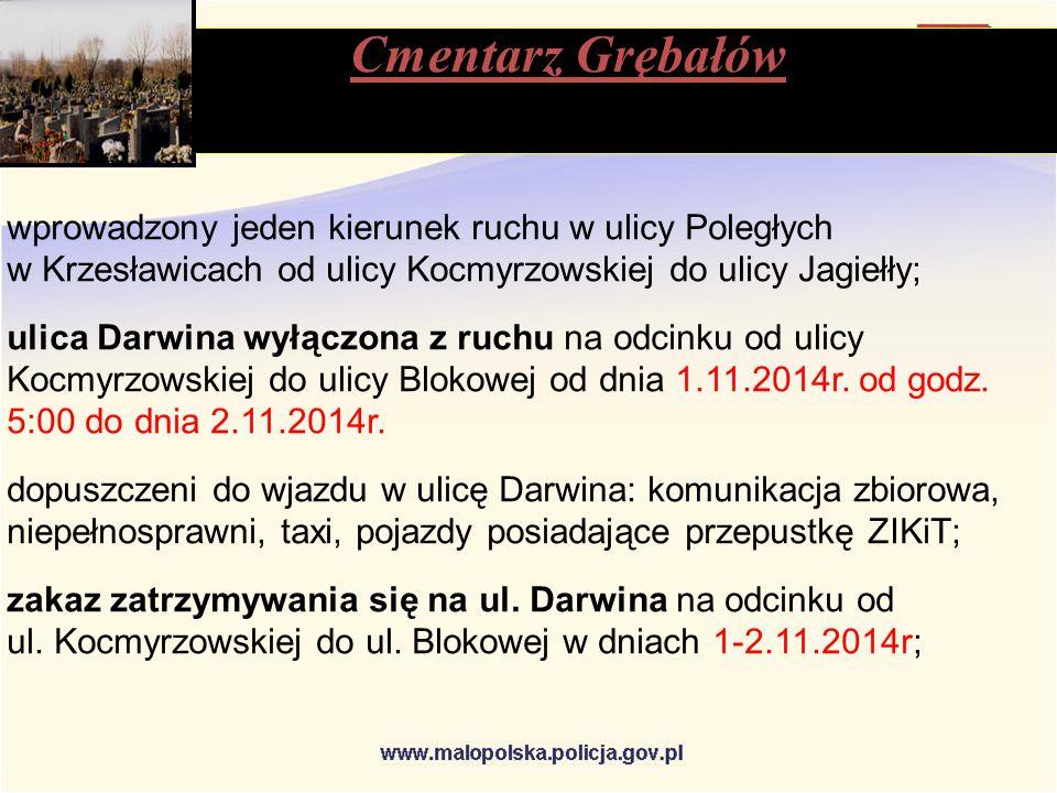 wprowadzony jeden kierunek ruchu w ulicy Poległych w Krzesławicach od ulicy Kocmyrzowskiej do ulicy Jagiełły; ulica Darwina wyłączona z ruchu na odcinku od ulicy Kocmyrzowskiej do ulicy Blokowej od dnia 1.11.2014r.