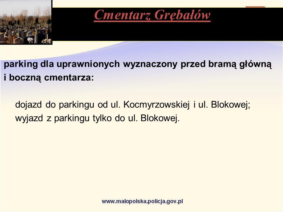 parking dla uprawnionych wyznaczony przed bramą główną i boczną cmentarza: dojazd do parkingu od ul.
