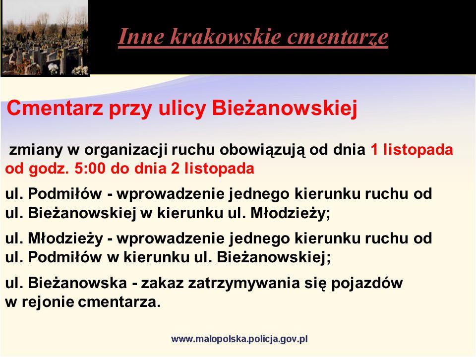Inne krakowskie cmentarze Cmentarz przy ulicy Bieżanowskiej zmiany w organizacji ruchu obowiązują od dnia 1 listopada od godz.