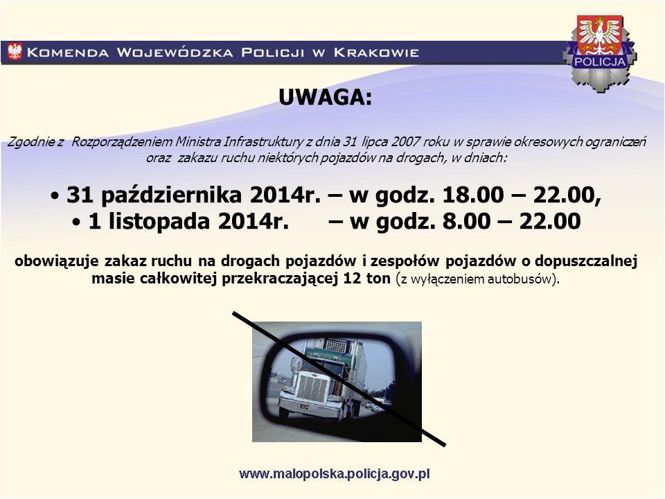 UWAGA: Zgodnie z Rozporządzeniem Ministra Infrastruktury z dnia 31 lipca 2007 roku w sprawie okresowych ograniczeń oraz zakazu ruchu niektórych pojazdów na drogach, w dniach: 31 października 2014r.