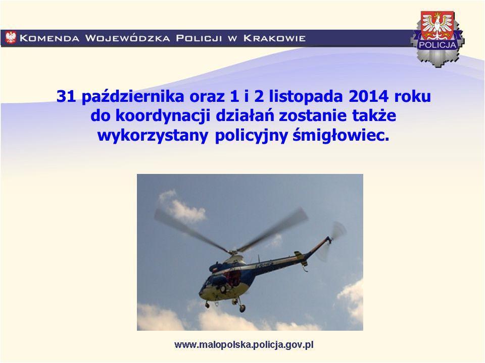 31 października oraz 1 i 2 listopada 2014 roku do koordynacji działań zostanie także wykorzystany policyjny śmigłowiec.