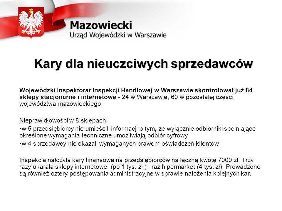 Kary dla nieuczciwych sprzedawców Wojewódzki Inspektorat Inspekcji Handlowej w Warszawie skontrolował już 84 sklepy stacjonarne i internetowe - 24 w Warszawie, 60 w pozostałej części województwa mazowieckiego.