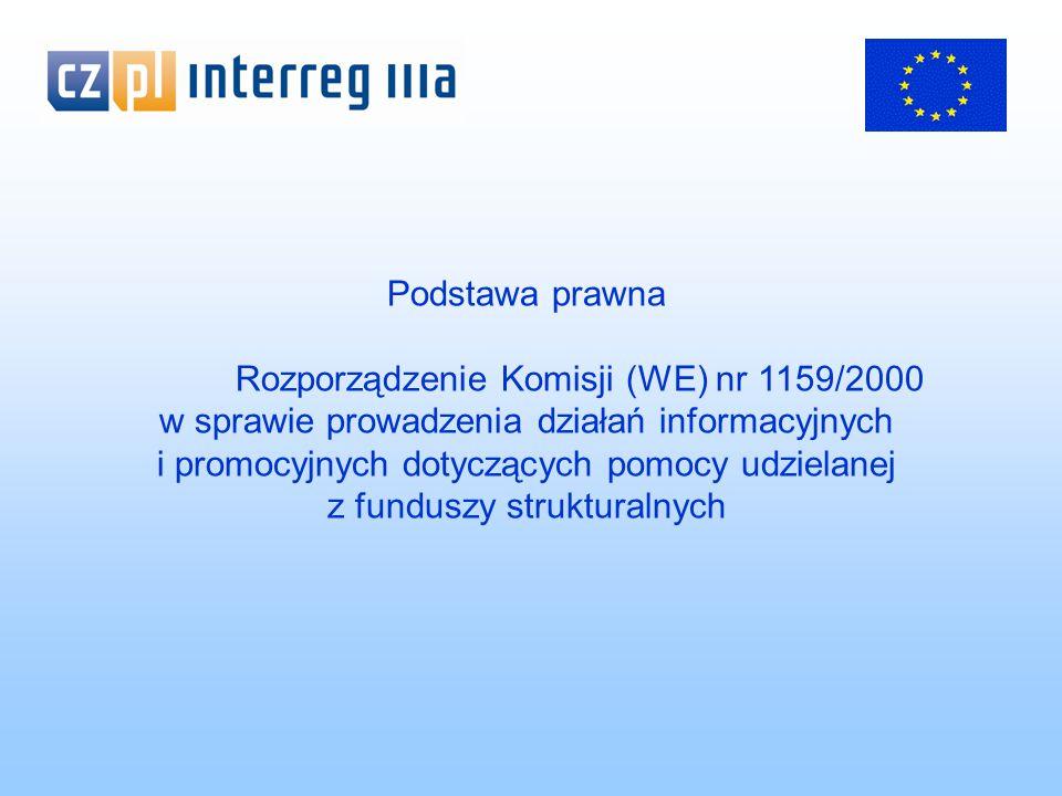 Podstawa prawna Rozporządzenie Komisji (WE) nr 1159/2000 w sprawie prowadzenia działań informacyjnych i promocyjnych dotyczących pomocy udzielanej z funduszy strukturalnych