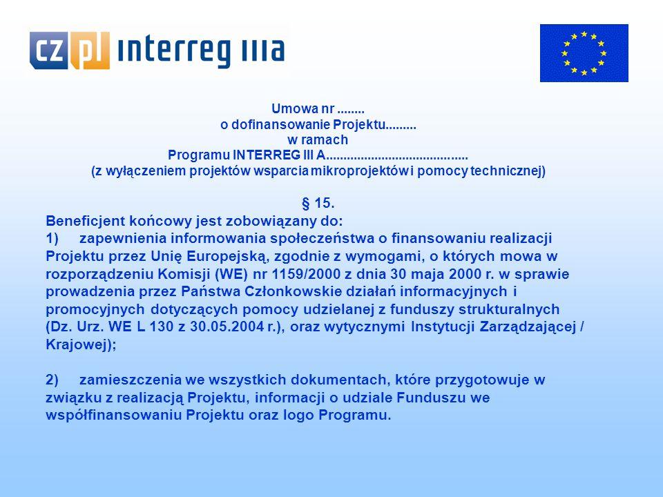 Umowa nr........ o dofinansowanie Projektu.........