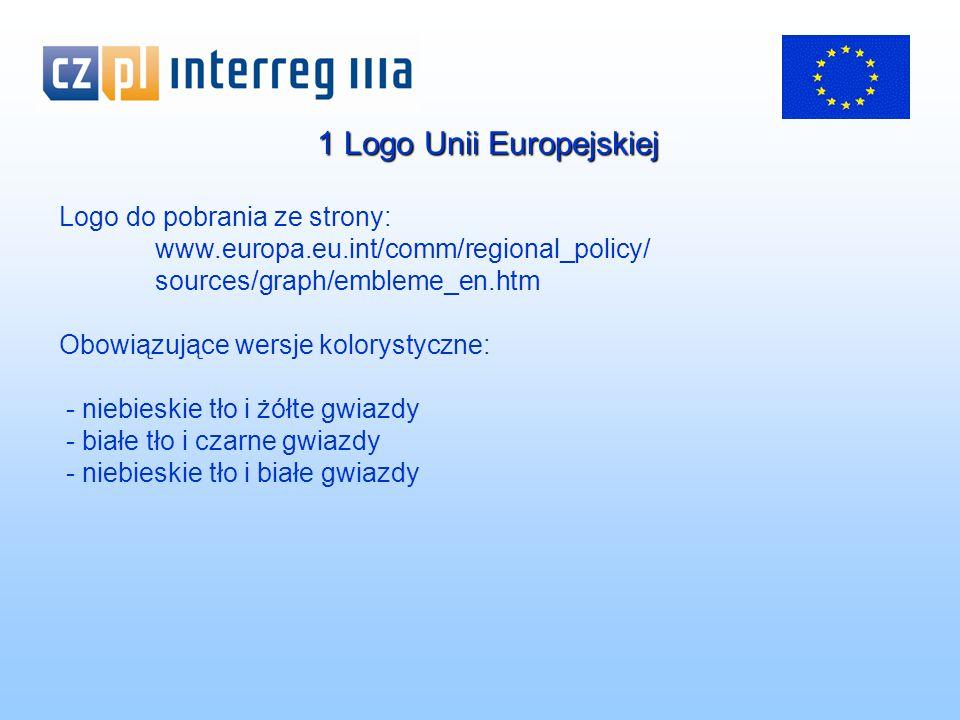1 Logo Unii Europejskiej Logo do pobrania ze strony: www.europa.eu.int/comm/regional_policy/ sources/graph/embleme_en.htm Obowiązujące wersje kolorystyczne: - niebieskie tło i żółte gwiazdy - białe tło i czarne gwiazdy - niebieskie tło i białe gwiazdy