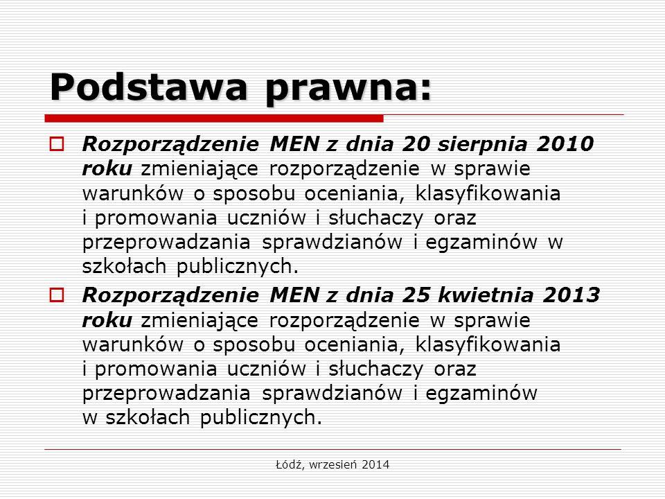 Łódź, wrzesień 2014  Rozporządzenie MEN z dnia 20 sierpnia 2010 roku zmieniające rozporządzenie w sprawie warunków o sposobu oceniania, klasyfikowania i promowania uczniów i słuchaczy oraz przeprowadzania sprawdzianów i egzaminów w szkołach publicznych.