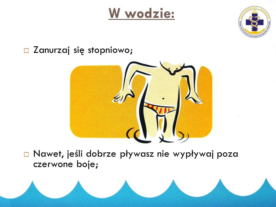 Zanim wejdziesz do wody:  Jeśli jesteś rozgrzany nie wskakuj raptownie do wody. Najlepiej najpierw trochę się zamocz;  Jeśli niedawno jadłeś odczeka