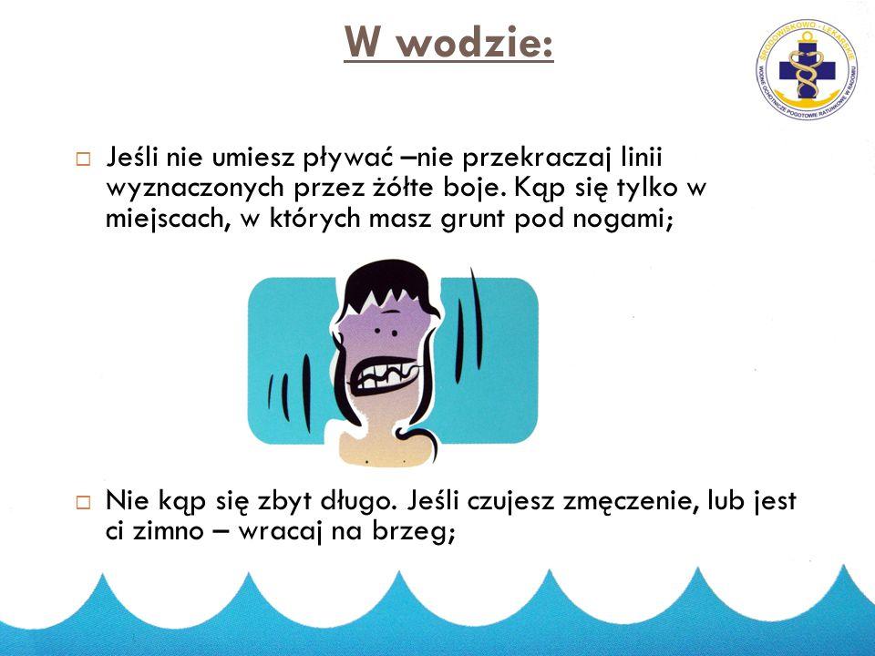 2014-11-19 4 W wodzie:  Zanurzaj się stopniowo;  Nawet, jeśli dobrze pływasz nie wypływaj poza czerwone boje;
