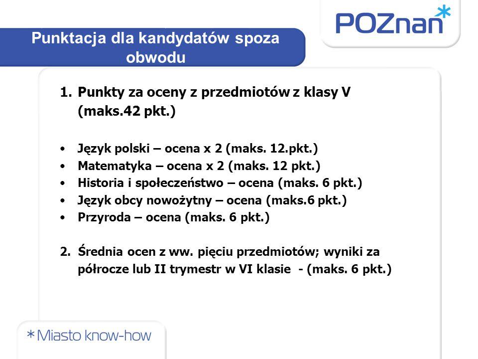 1.Punkty za oceny z przedmiotów z klasy V (maks.42 pkt.) Język polski – ocena x 2 (maks.
