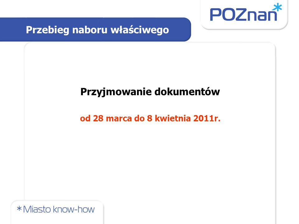 Przyjmowanie dokumentów od 28 marca do 8 kwietnia 2011r. Przebieg naboru właściwego