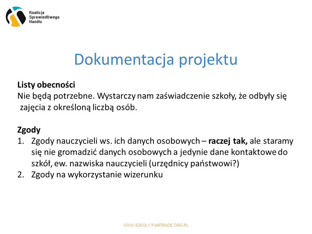 WWW.SZKOLY.FAIRTRADE.ORG.PL Dokumentacja projektu Listy obecności Nie będą potrzebne.
