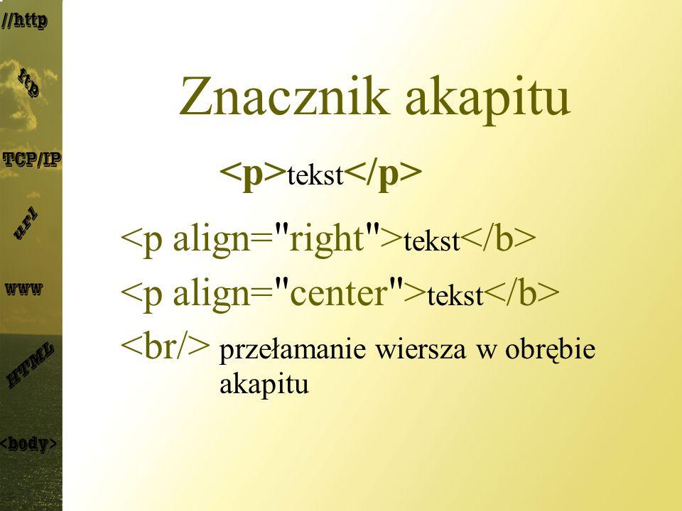Znacznik akapitu tekst przełamanie wiersza w obrębie akapitu
