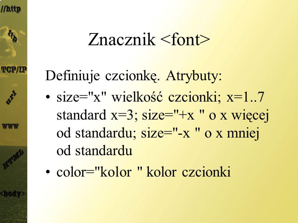 Znacznik Definiuje czcionkę. Atrybuty: size=