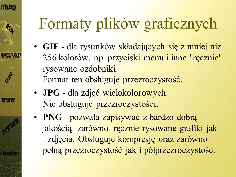 Formaty plików graficznych GIF - dla rysunków składających się z mniej niż 256 kolorów, np.
