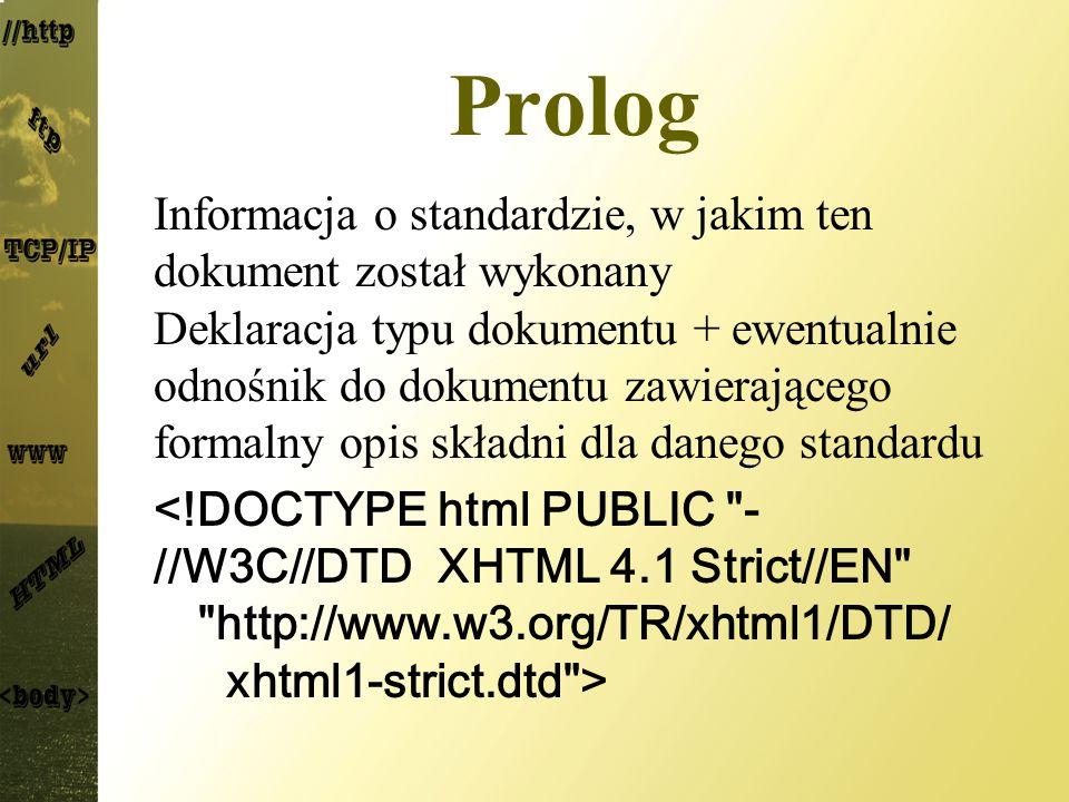 Prolog Informacja o standardzie, w jakim ten dokument został wykonany Deklaracja typu dokumentu + ewentualnie odnośnik do dokumentu zawierającego form