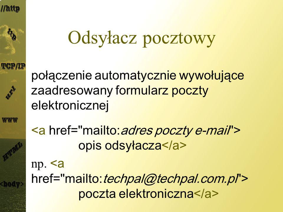 Odsyłacz pocztowy połączenie automatycznie wywołujące zaadresowany formularz poczty elektronicznej opis odsyłacza np. poczta elektroniczna