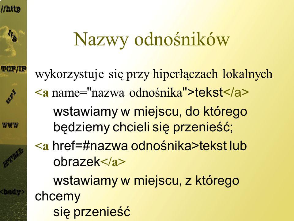 Nazwy odnośników wykorzystuje się przy hiperłączach lokalnych tekst wstawiamy w miejscu, do którego będziemy chcieli się przenieść; tekst lub obrazek