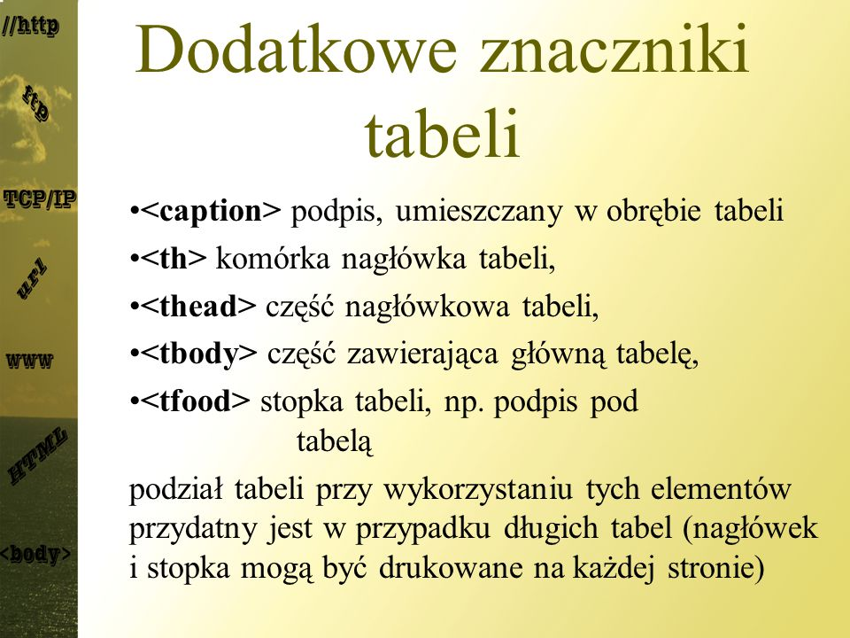 Dodatkowe znaczniki tabeli podpis, umieszczany w obrębie tabeli komórka nagłówka tabeli, część nagłówkowa tabeli, część zawierająca główną tabelę, stopka tabeli, np.
