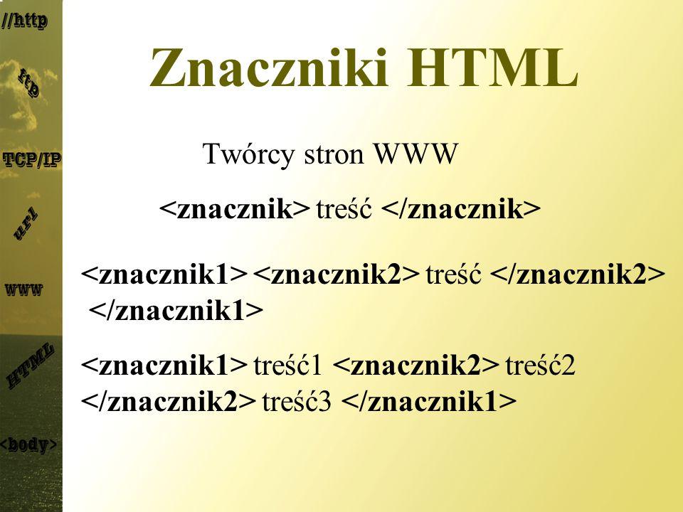 Znaczniki HTML Twórcy stron WWW treść treść1 treść2 treść3