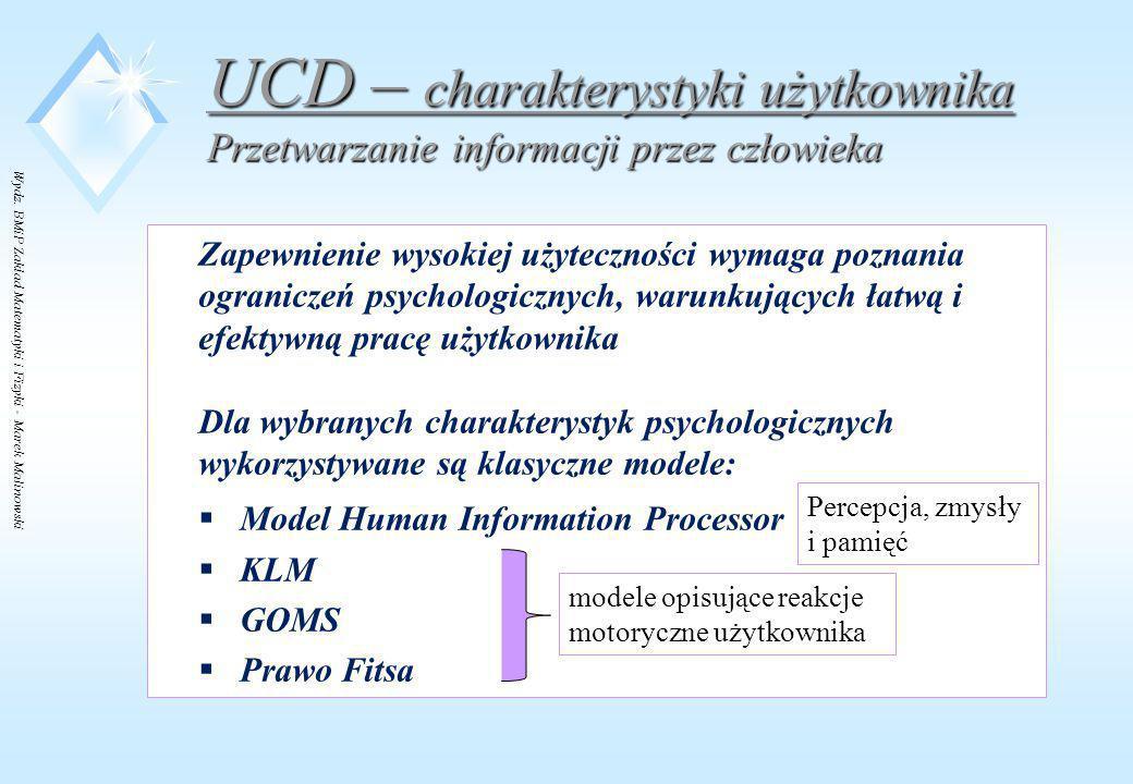 Wydz. BMiP Zakład Matematyki i Fizyki - Marek Malinowski UCD – charakterystyki użytkownika Przetwarzanie informacji przez człowieka Zapewnienie wysoki