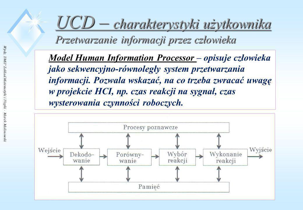 Wydz. BMiP Zakład Matematyki i Fizyki - Marek Malinowski UCD – charakterystyki użytkownika Przetwarzanie informacji przez człowieka Model Human Inform