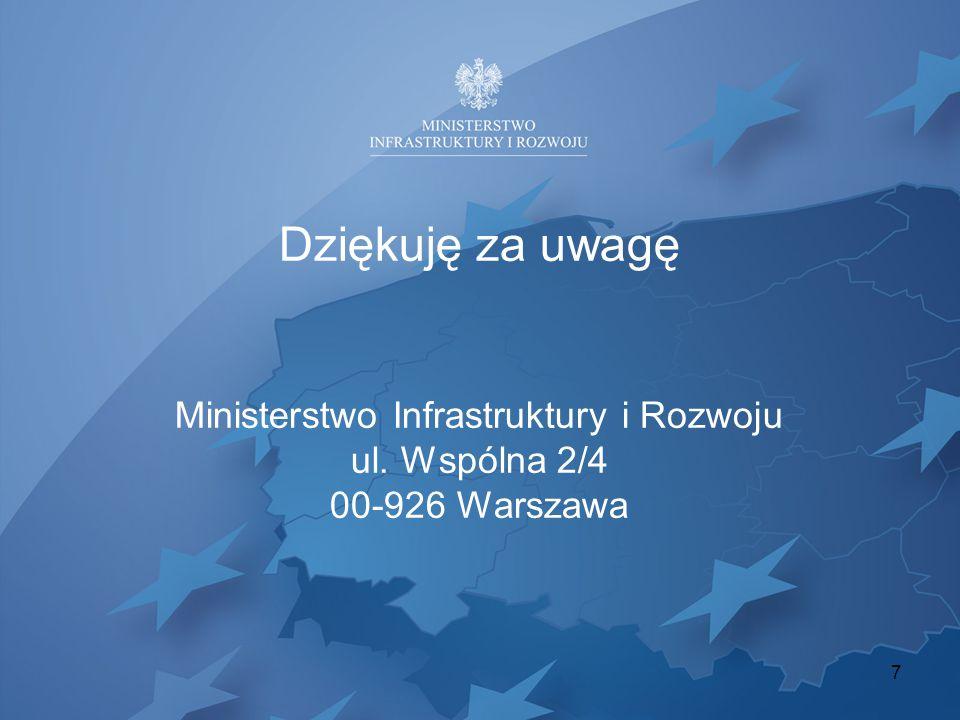 7 Dziękuję za uwagę Ministerstwo Infrastruktury i Rozwoju ul. Wspólna 2/4 00-926 Warszawa