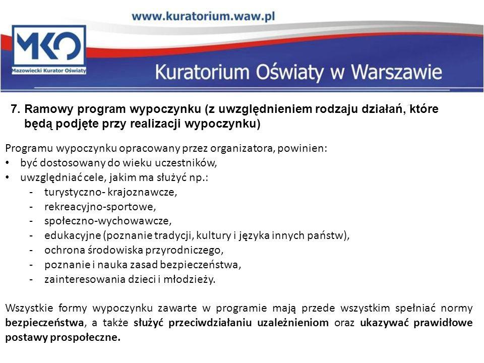7. Ramowy program wypoczynku (z uwzględnieniem rodzaju działań, które będą podjęte przy realizacji wypoczynku) Programu wypoczynku opracowany przez or
