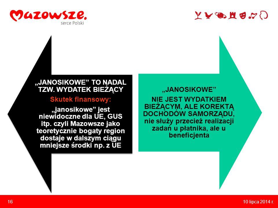 """10 lipca 2014 r. 16 """"JANOSIKOWE TO NADAL TZW."""