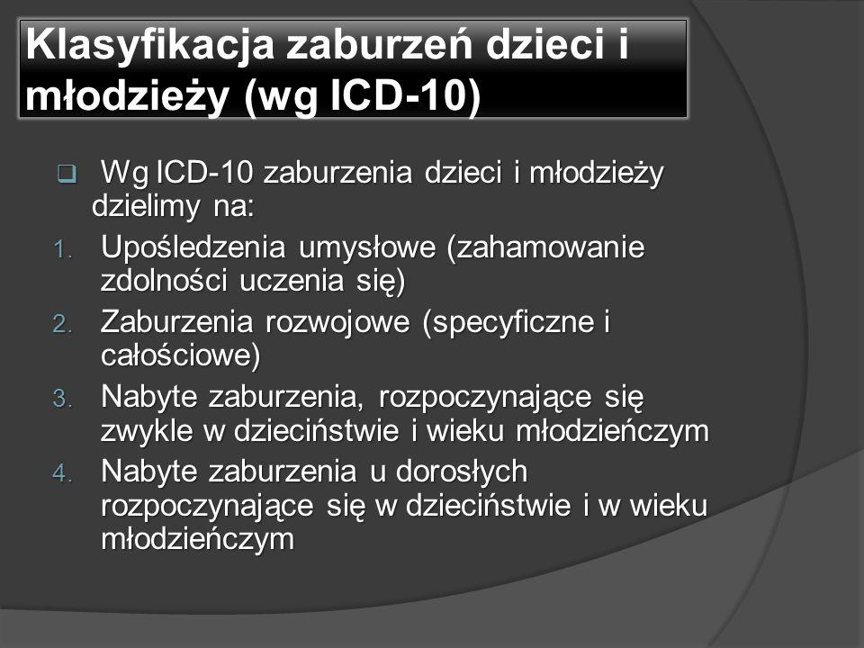 Klasyfikacja zaburzeń dzieci i młodzieży (wg ICD-10)  Wg ICD-10 zaburzenia dzieci i młodzieży dzielimy na: 1. Upośledzenia umysłowe (zahamowanie zdol