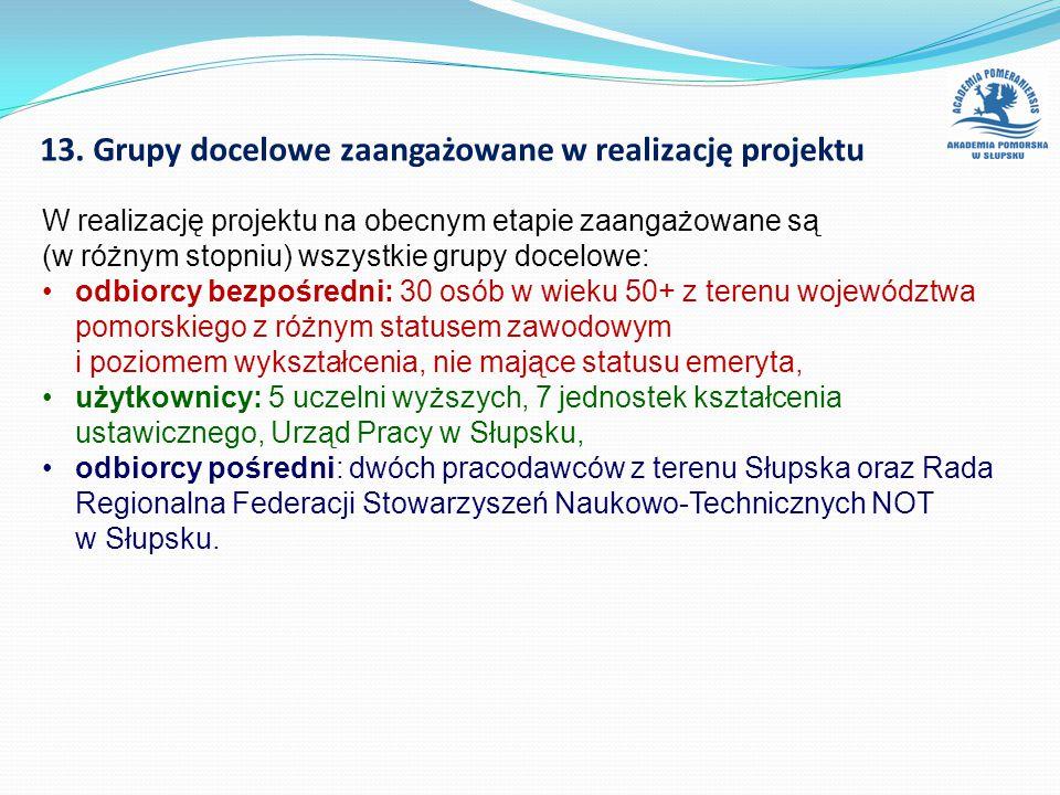 13. Grupy docelowe zaangażowane w realizację projektu W realizację projektu na obecnym etapie zaangażowane są (w różnym stopniu) wszystkie grupy docel
