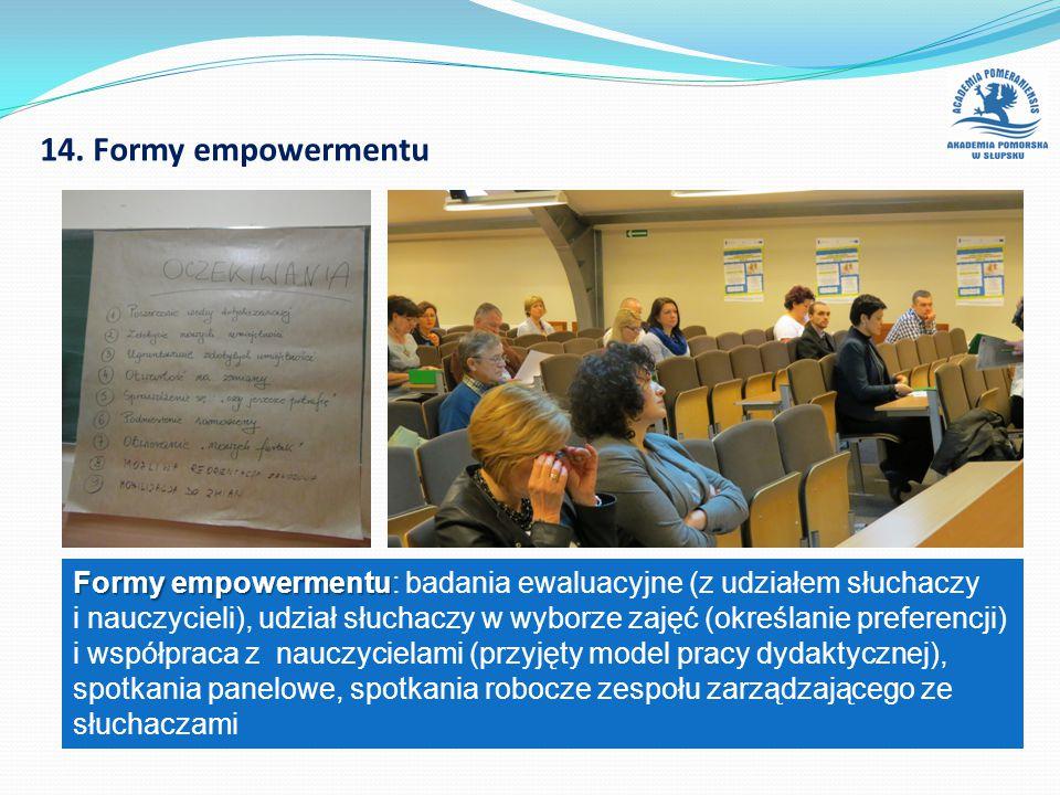 14. Formy empowermentu Formy empowermentu Formy empowermentu: badania ewaluacyjne (z udziałem słuchaczy i nauczycieli), udział słuchaczy w wyborze zaj