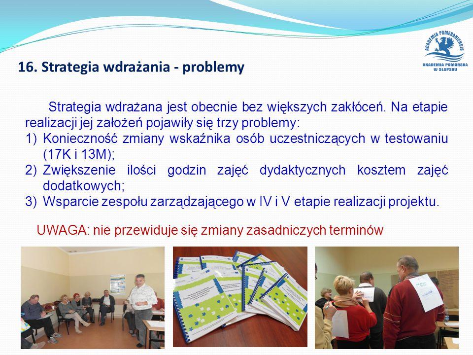 16. Strategia wdrażania - problemy Strategia wdrażana jest obecnie bez większych zakłóceń. Na etapie realizacji jej założeń pojawiły się trzy problemy