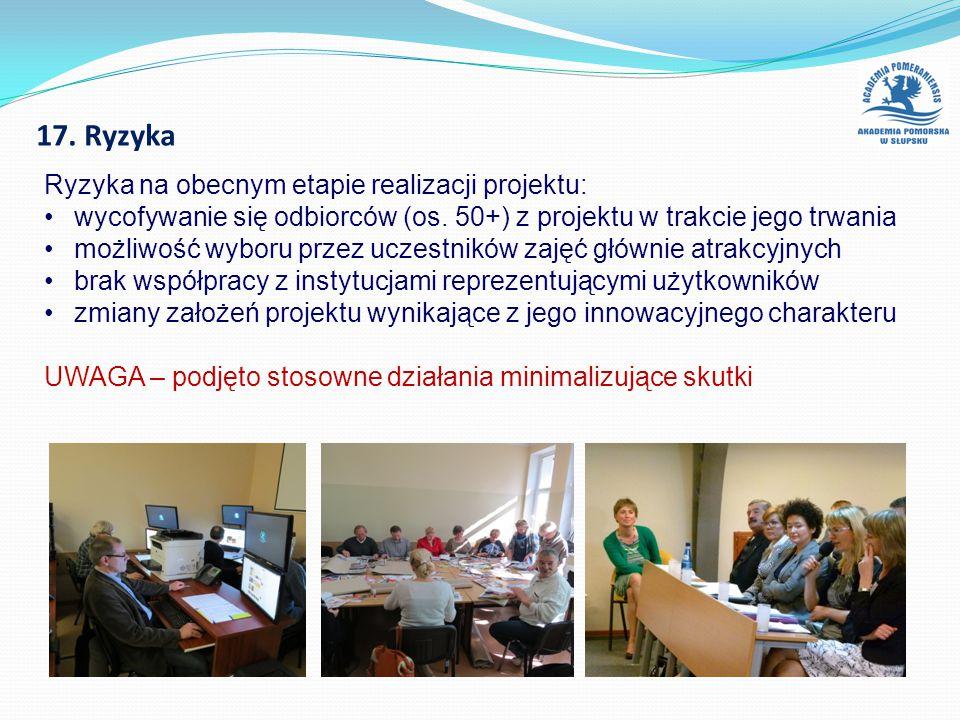 17. Ryzyka Ryzyka na obecnym etapie realizacji projektu: wycofywanie się odbiorców (os.