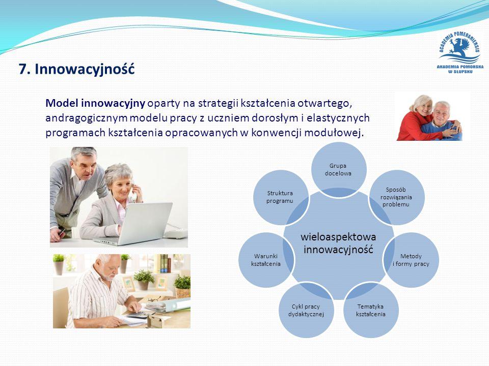 7. Innowacyjność wieloaspektowa innowacyjność Grupa docelowa Sposób rozwiązania problemu Metody i formy pracy Tematyka kształcenia Cykl pracy dydaktyc