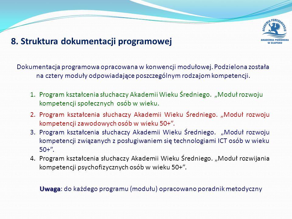"""8. Struktura dokumentacji programowej 1.Program kształcenia słuchaczy Akademii Wieku Średniego. """"Moduł rozwoju kompetencji społecznych osób w wieku. 2"""