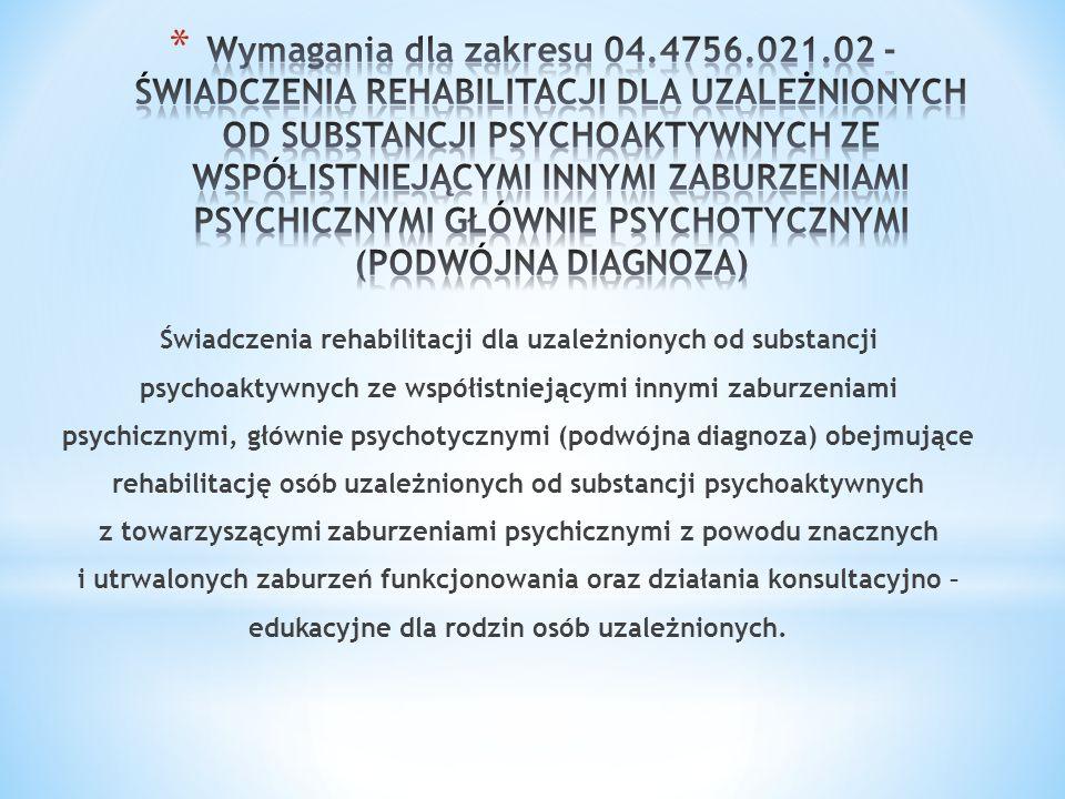 Świadczenia rehabilitacji dla uzależnionych od substancji psychoaktywnych ze współistniejącymi innymi zaburzeniami psychicznymi, głównie psychotycznym