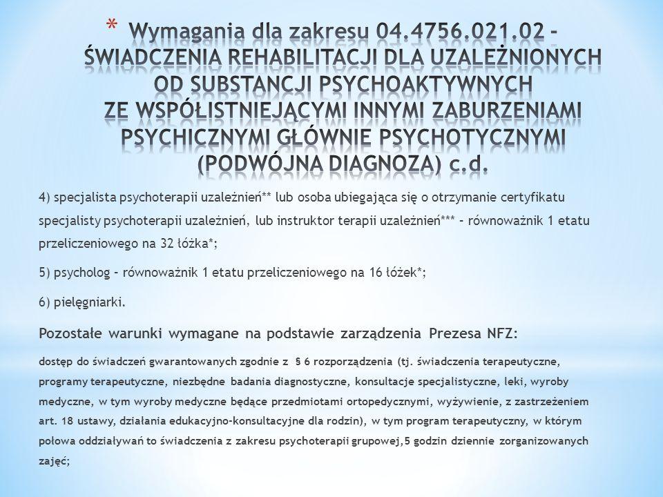 4) specjalista psychoterapii uzależnień** lub osoba ubiegająca się o otrzymanie certyfikatu specjalisty psychoterapii uzależnień, lub instruktor terap