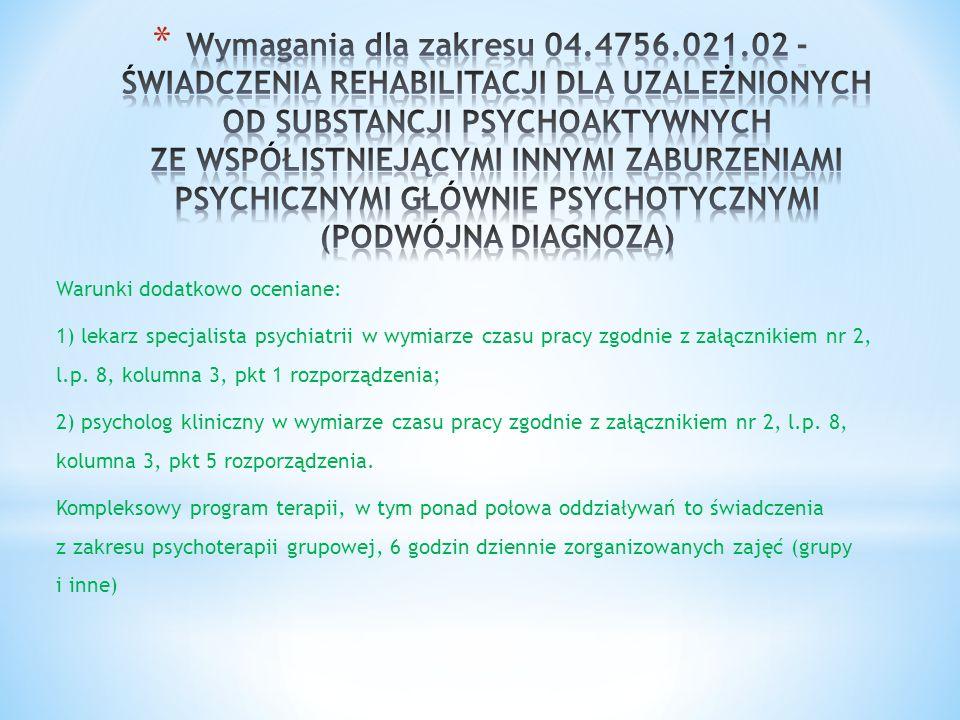 Warunki dodatkowo oceniane: 1) lekarz specjalista psychiatrii w wymiarze czasu pracy zgodnie z załącznikiem nr 2, l.p. 8, kolumna 3, pkt 1 rozporządze