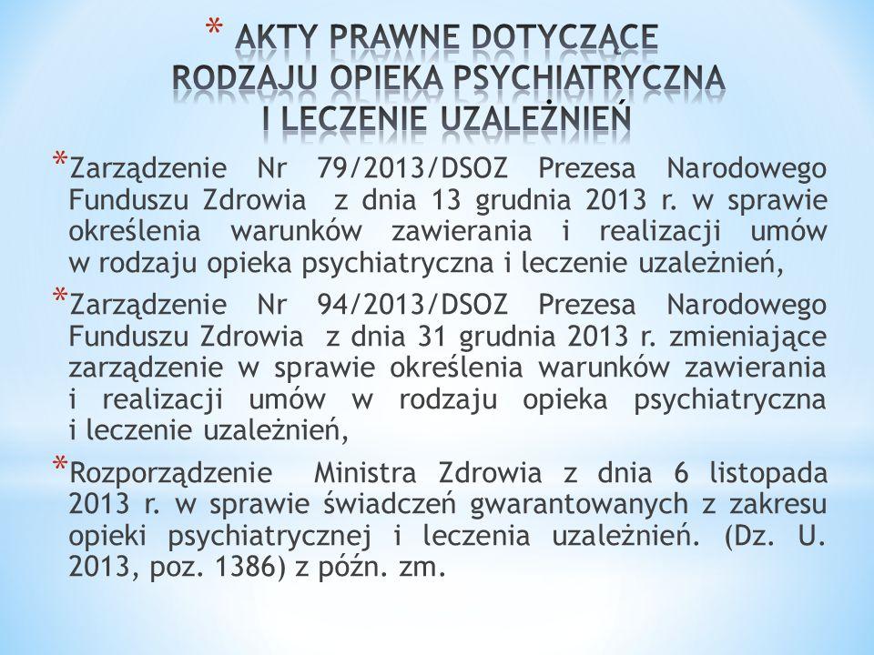 * Zarządzenie Nr 79/2013/DSOZ Prezesa Narodowego Funduszu Zdrowia z dnia 13 grudnia 2013 r. w sprawie określenia warunków zawierania i realizacji umów