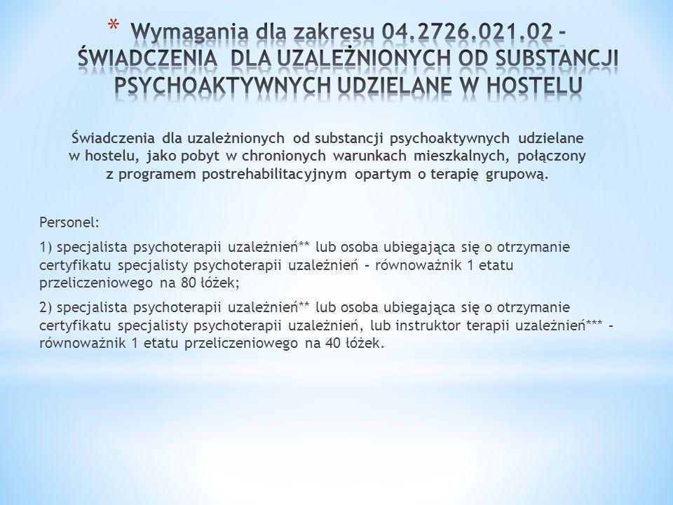Świadczenia dla uzależnionych od substancji psychoaktywnych udzielane w hostelu, jako pobyt w chronionych warunkach mieszkalnych, połączony z programe