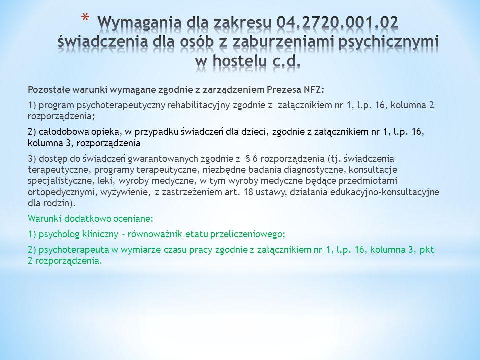 Pozostałe warunki wymagane zgodnie z zarządzeniem Prezesa NFZ: 1) program psychoterapeutyczny rehabilitacyjny zgodnie z załącznikiem nr 1, l.p. 16, ko