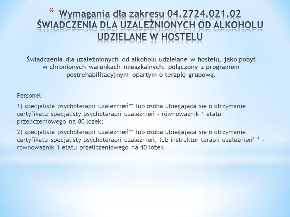 Świadczenia dla uzależnionych od alkoholu udzielane w hostelu, jako pobyt w chronionych warunkach mieszkalnych, połączony z programem postrehabilitacy