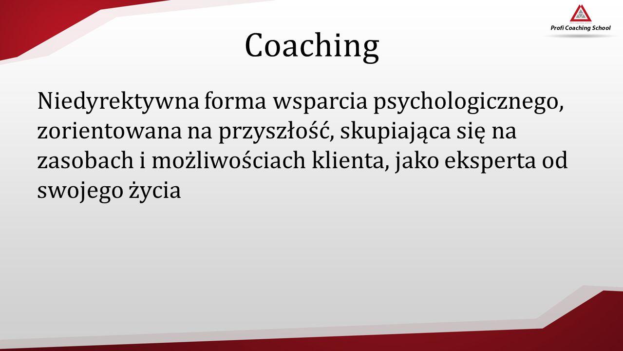 Coaching Niedyrektywna forma wsparcia psychologicznego, zorientowana na przyszłość, skupiająca się na zasobach i możliwościach klienta, jako eksperta