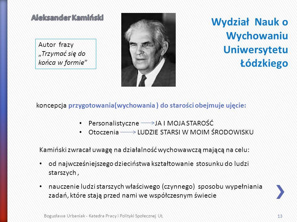 13 Bogusława Urbaniak - Katedra Pracy i Polityki Społecznej UŁ koncepcja przygotowania(wychowania ) do starości obejmuje ujęcie: Personalistyczne JA I