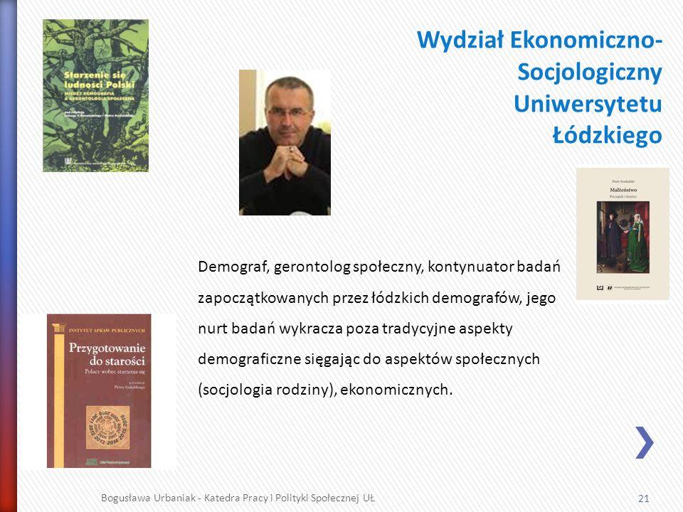 21 Bogusława Urbaniak - Katedra Pracy i Polityki Społecznej UŁ Wydział Ekonomiczno- Socjologiczny Uniwersytetu Łódzkiego Demograf, gerontolog społeczn