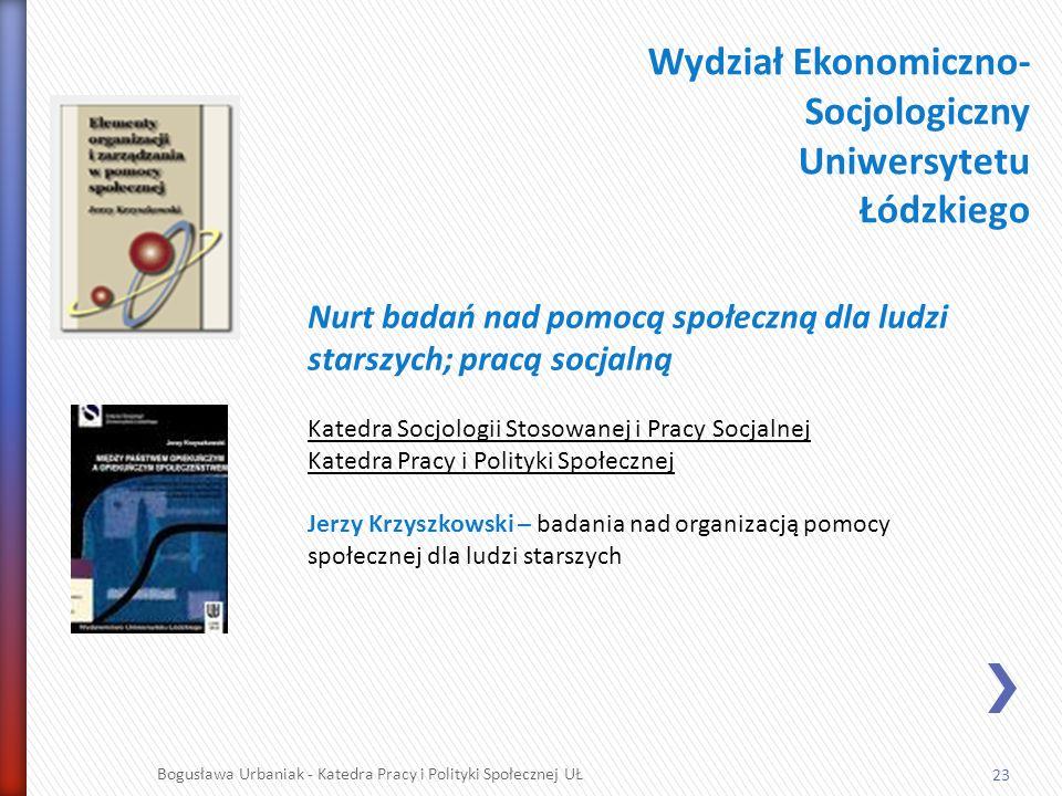 23 Bogusława Urbaniak - Katedra Pracy i Polityki Społecznej UŁ Wydział Ekonomiczno- Socjologiczny Uniwersytetu Łódzkiego Nurt badań nad pomocą społecz