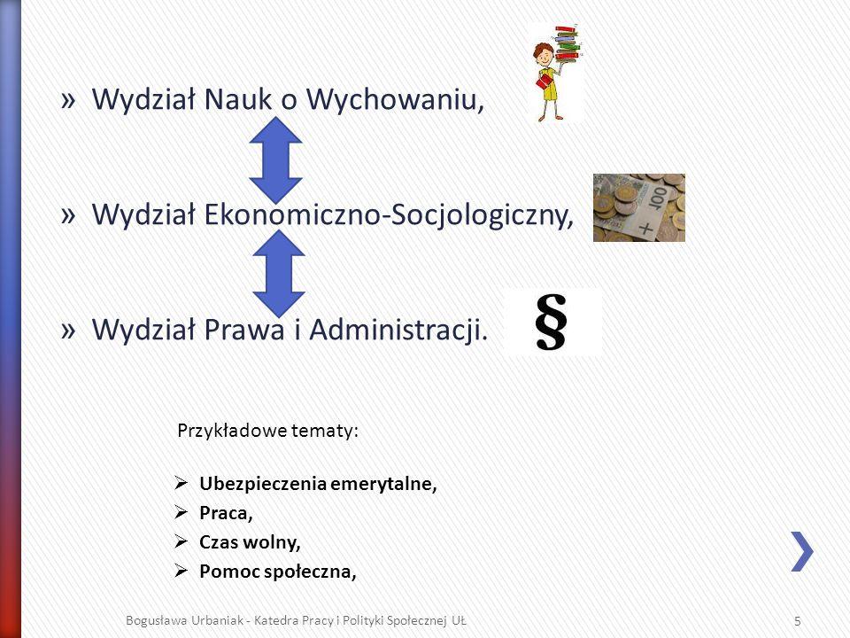 » Wydział Nauk o Wychowaniu, » Wydział Ekonomiczno-Socjologiczny, » Wydział Prawa i Administracji. Bogusława Urbaniak - Katedra Pracy i Polityki Społe
